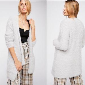 Free People Faux Fur Cardigan in Silver Cloud